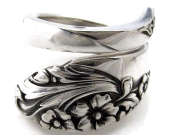 Spoon Ring Evening Star Teaspoon Size 5 to 16 Wrapped