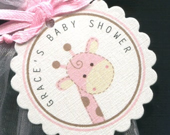 Baby Shower Favor Tags - Giraffe - Thank You Tags - Personalized - Jungle Animal - Gift Tags - Pink - Baby Girl Shower - Set of 25
