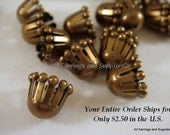25 Antique Gold Bead Cap Plated Brass 9x7mm - 25 pc - 5914-10