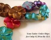 SALE - 9 Metallic Flower Beads Acrylic 19mm Assortment - 9 pc - A1030FL-AS9-AG
