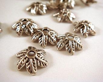 25 Antique Silver Bead Cap Leaf Design Tibetan Silver 11mm NF/ LF/CF - 25 pc - F4133BC-AS25