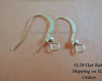 20 Flat Silver Earwire Hooks, Fishhook 14mm LF Silver Plated - 20 pc - F4005EW-S20