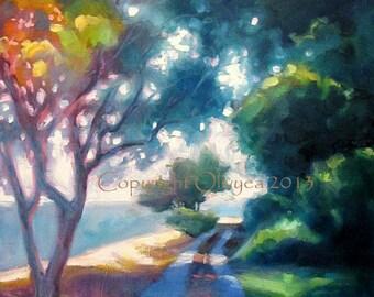 "Landscape Oil Painting, Beach, Trees, Pathway, Whidbey Island WA, Original, Photo Realism, Impressionism, 18"" x 24"""