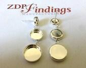 2pcs (Pair) Round 8,10&12mm Bezel Stud Earrings Sterling Silver 925 (61081012)