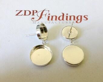 2pcs (Pair) Round 8 & 10mm Bezel Stud Earrings Sterling Silver 925 (610810)