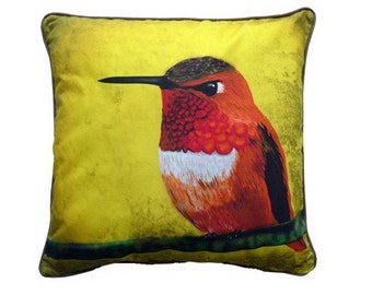 Cushion cover for throw pillow with bird - Hummingbird - 16x16inch // 40x40cm