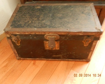 Antique Childs Trunk Late 1800's to Early 1900's with Original Till Made of Tin