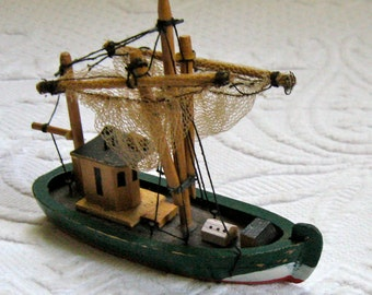 Wooden Fishing Boat . Fishing Boat with Nets . toy fishing boot . miniature fishing boat