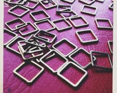 10mm square brass links hoops connectors 10mm  - 50 pieces - destash