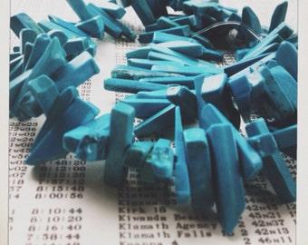 "SALE turquoise howlite stick gemstone beads 16"" strand   sale"