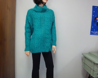 Chunky Vintage 80s Mohair Sweater, Teal Blue Cowl Neck, Oversized Cabled