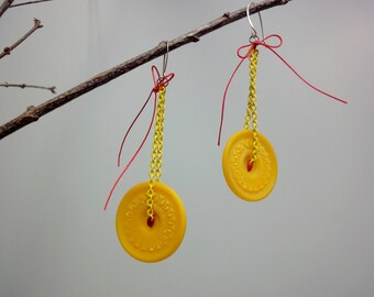 Butterscotch Yellow Button Earrings, Long Chain Dangles, Casein Buttons