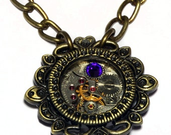 Steampunk Victorian Jewelry - Watch Movement and Heliotrope Crystal - Antique bronze