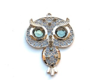 Silver Metal Filigree Style 50mm x 65mm OWL Pendant with Crystals, 1021-07