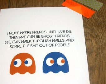Ghost Friends - Friendship card - BFF Birthday - Friends for Life - digital download