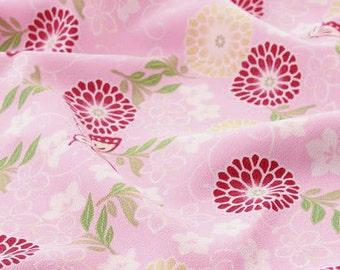 3601 - Japanese Chrysanthemum Butterfly Chirimen Crepe Fabric - 59 Inch (Width) x 1/2 Yard (Length)