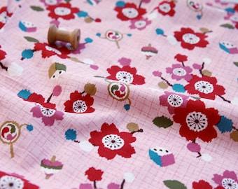 3864 - Japanese Kimono Cherry Blossom Slubbed Cotton Fabric - 58 Inch (Width) x 1/2 Yard (Length)
