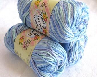 100% cotton yarn, blue green kitchen cotton yarn, worsted weight, Creme de la Creme Cotton Yarn, OCEAN