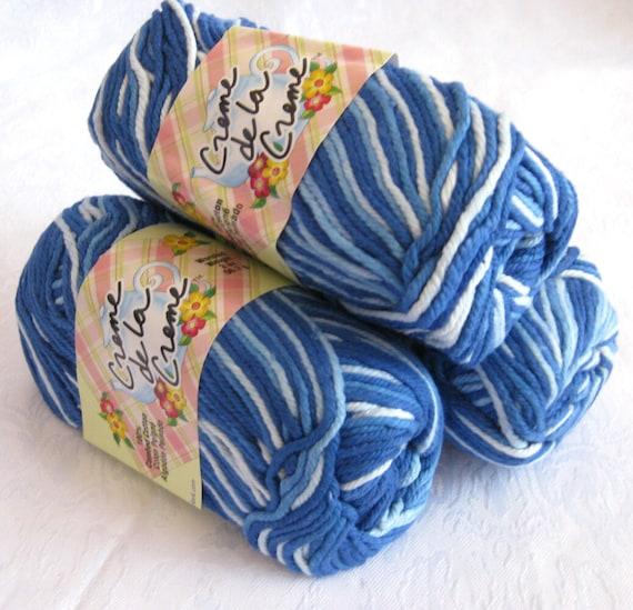 Blue white cotton yarn, Creme de la Creme Cotton Yarn, BLUE TONES,  worsted weight