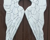Wood Carved Angel Wings in Shana 11x40 Lightly Distressed White and Grey with a Silver Pearl Sheen