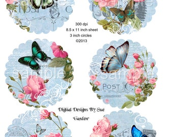 Garden - 3 inch Circles Printable Digital Collage Sheet - Digital Download
