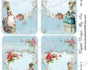 INSTANT DOWNLOAD -  Marie Antoinette Era 2 - 3.5 X 5  -  Printable Digital Collage Sheet - Digital Download