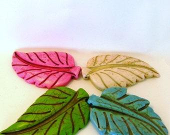 Jumbo Howlite Leaf Beads - Assorted Colors