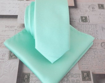 Pastel Mint Green Skinny Necktie with Matching Pocket Square Set