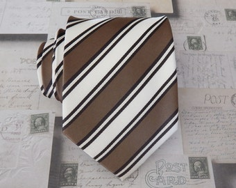 Tie Cream and Brown Stripes Mens Silk Necktie
