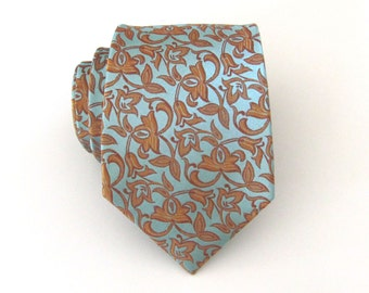 Mens Tie. Dusty Green Rust Flower Mens Necktie