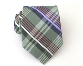 Mens Ties Green Lavender Gray Plaid Necktie With Matching Pocket Square Option