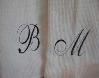 Waffle Weave Kitchen Towel with Monogram