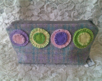 Cosmetic Purse, Make Up Bag Penny Rug Design Wool