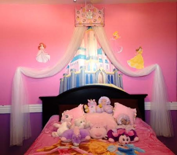 Princess Bed Canopy Girl Crown Pelmet Upholstered Awning: Tiara Crown Disney Princess Crib Canopy Cornice Bed SALE