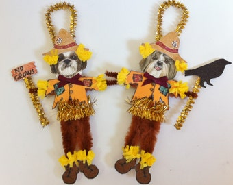 Shih Tzu SCARECROW Halloween vintage style CHENILLE ORNAMENTS set of 2