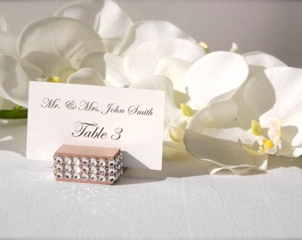 Place Card Holders + Rose Gold Place Card wrapped with a crystal  Holders (Set of 20)