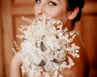 Wedding bouquet with pearls, crystals and french beaded flowers