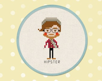 Hipster Boy. Modern Cute Simple Counted Cross Stitch PDF Pattern. Instant Download