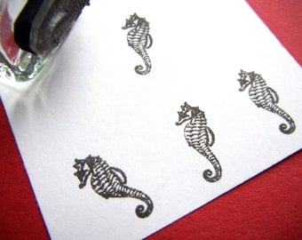 Tiny Seahorse Rubber Stamp - Handmade by BlossomStamps