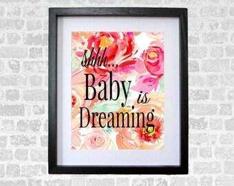 Baby Is Dreaming Nursery Art Digital Print Wall Art Print 8 x 10 INSTANT DOWNLOAD Nursery Decor  Watercolor Peonies Baby Shower Gift