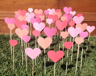 200 Tropical Coral Collection Shabby Chic Hearts On A Stick - Wedding Aisle Decoration Beach Wedding, Garden Wedding, Baby Shower decoration