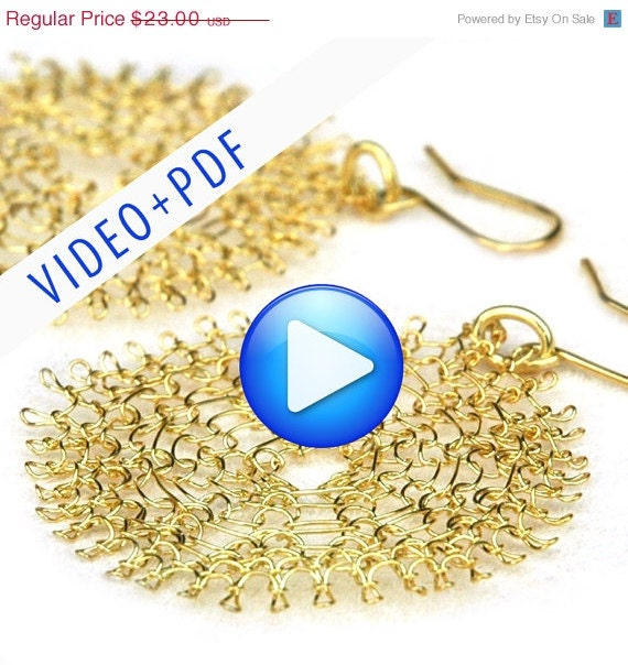 Labor Day SALE Wire Jewelry Crochet Pattern of YoolaFlower, ONLINE  VIDEO pattern and a Pdf file