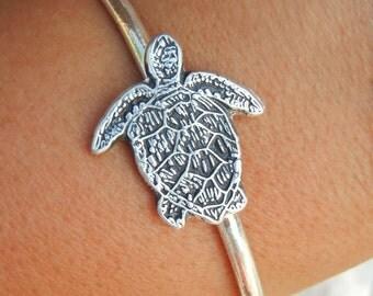 Beach Jewelry, Silver Beach Bracelet, Sterling Silver Beach Cuff Bracelet, STERLING SILVER Beach Jewelry, Beach Cuff Bracelet, Sea Turtle
