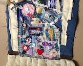 Textile art wallhanging by Lisa mixed media art