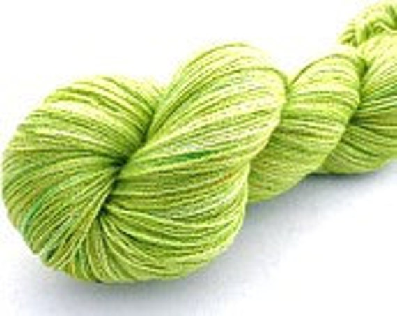 Limeade--SALE--hand dyed lace weight yarn, BFL and silk, (875yds/100gm)