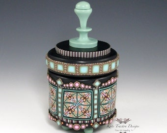 Polymer Clay Canister Pot, Seafoam Green, Pink, Black