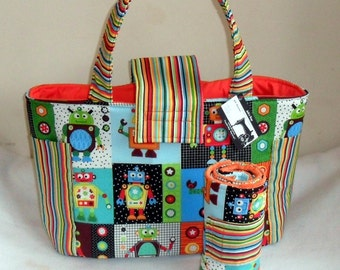 Large Robot Diaper Bag Tote with Upgraded Interior and Changing Mat/Pad Set
