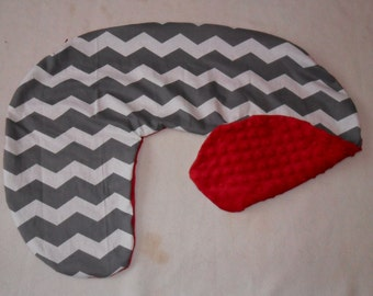 Gray and White Chevron and Minky Dot Nursing Pillow Cover Fits Boppy CHOICE OF MINKY