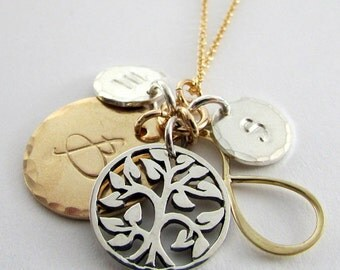 Custom Family Necklace | Forever Family Family Tree Infinity Charm | Personalized Mothers Necklace 925 Silver | Gold Filled | E. Ria Designs