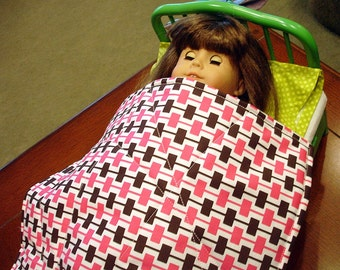 "50% OFF Doll Quilt - Strawberry & Chocolate, Great For 18"" Dolls, 3 Piece Set, Reversible WAS 20.00"